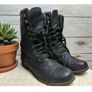 Report Women's 7 Black Combat Boots Faux Leather